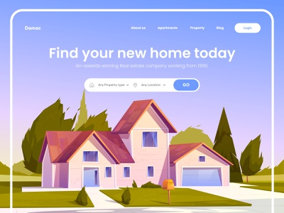 Property Finder Landing Page Design property homepage landing page ui landing design webdesign typography landing page design websitedesign website digital design illustration ui uiux interface landing web design landing page ux web