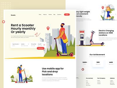 Scooter Landing Page Design ux ui web landingpage landing webdesign web design uiux illustration design website agency digital clean minimal typography website design landing page design websitedesign project