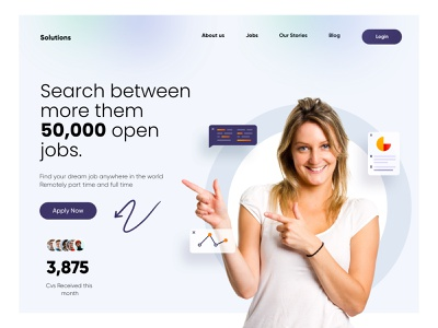 Job Searching Landing Page Design ux ui web landingpage landing web design webdeisgn uiux illustration design website agency digital clean minimal typography website design landing page design webdesign project