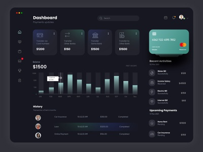 Finance Dashboard Dark theme design app interface uiux ux financial admin dashboad finance
