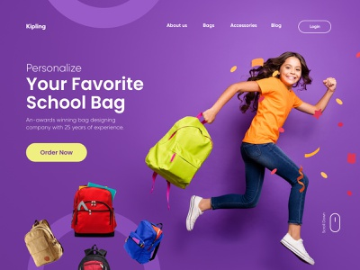 School Bag Landing Page Design web design webdesig clean project landingpage web landing ux ui uiux illustration design website agency digital minimal typography landing page design websitedesign website design