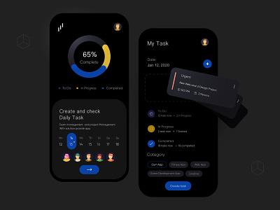 Task manager Dark UI Design interface ux uiux ui app mobile mobile ui mobileapp minimal mobileappdesign mobile app mobile apps ux ui design ui design mobile app design