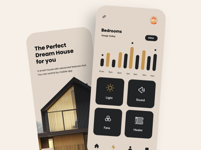 Smart Home Mobile App Design interface ux uiux ui app mobile mobile ui mobile app mobileappdesign mobileapp mobile apps ux ui design smart house smarthome card typography minimal mobile app design mobile design