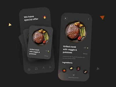 Food App Dark Theme UI Design mobile design mobile app design minimal typography card dark ui food app food ux ui design mobile apps mobileapp mobileappdesign mobile app mobile ui mobile app ui ux uiux interface