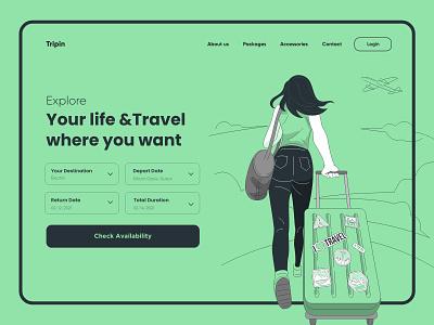Traveling Landing Page Design website design ui uidesign illustration typography minimal website design websitedesign landing landingpage web hero image heroimage header webdesign