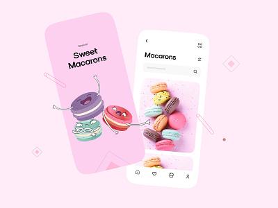 Sweet Macarons App Design mobile ui design apps mobileapps mobileapp sweetapp mobileappdesign mobileui mobileui design macarons typography illustration design mobile app ux uiux ui minimal interface app mobile