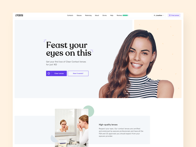 Glasses Subscription - Landing Page subscribe branding brand photos shadow mobile ux digital ui design clean yellow blue colors minimal flat eyeglasses glasses landing page landing