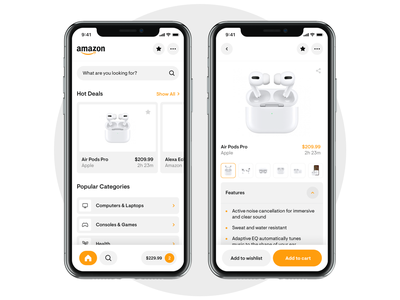 Amazon App Redesign cash money product airpods rounded redesign white mobile ux minimal ui app digital ecommerce design clean store design shop amazon store