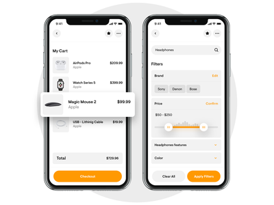 Amazon Redesign - Cart & Filters summary search ux ui white orange rounded money appication minimal shoping mobile product filters filter cart eccomerce app redesign amazon