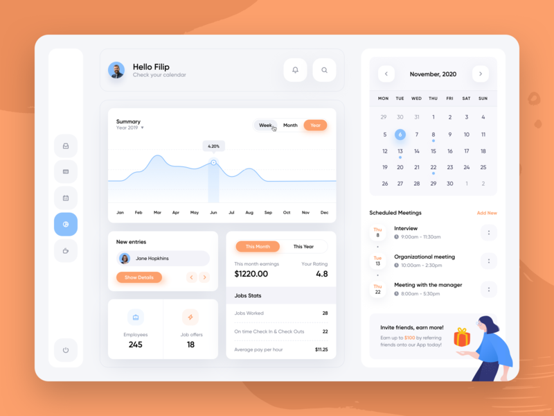 Job Dashboard Manager menu profile calendar illustration icons chart money application round shadow colors ux minimal desktop mobile app design clean dashboard jobs