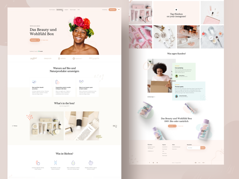 Beauty Box Subscription icon landing shapes pattern bio nautre skin ux ui shadow minimal photos mockups cosmetics subscription beauty design colors clean branding