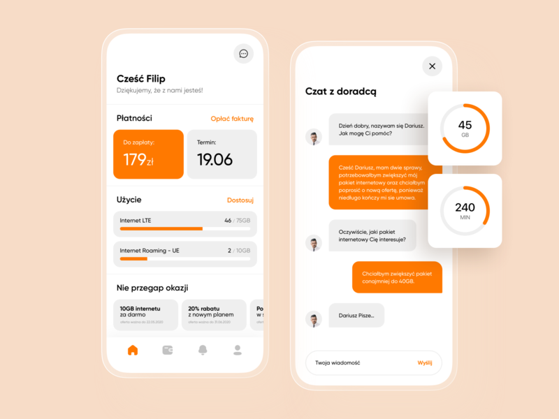 Phone Subscription - Mobile Application design ui minimal app design flat icon clean application mobile stats chat promotions progress chart invoices telecommunication app white orange