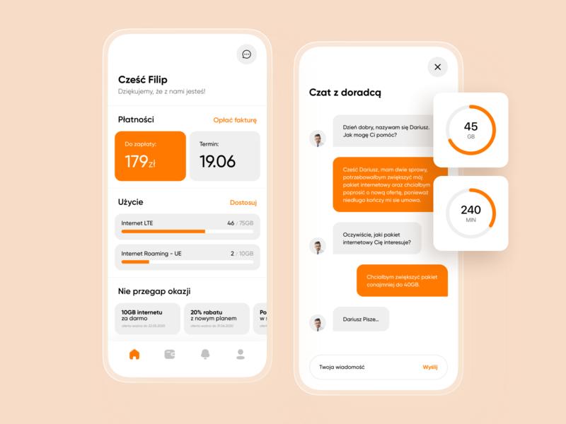 Phone Subscription - Mobile Application design ui minimal app design flat icon clean application mobile stats chat promotions progress chart invoices telecommunication app white orange