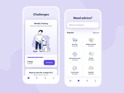 Dog Lovers 🐶 dogs dog clean design app ui gradient digital ux colors shadow icons illustration pets white round application mobile animation principle