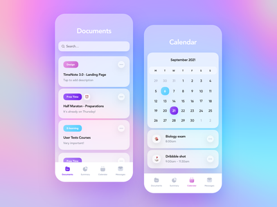 TimeNote 3.0 - Mobile Application blue purple round ux minimal ui clean transparent colors shadow documents team design tasks calendar blurred background blur gradient app mobile