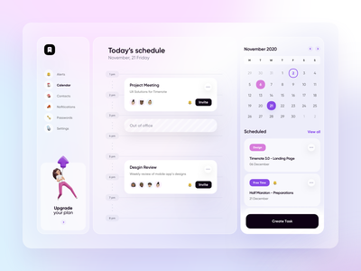Timenote 3.0 - Desktop Calendar blur colors 3d illustration icons calendar manager task blue minimal logo purple design app gradient ux ui team transparent dektop