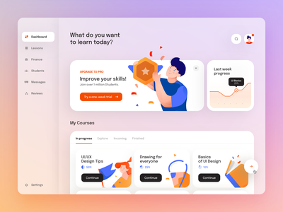 E-learning Desktop App clean app minimal ui digital gradient mobile blue shadow illustration desktop transparent dashboad learning courses ux application dekstop teach blur
