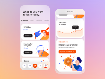 E-learning Application Mobile application blur minimal clean design digital gradient ux colors shadow illustration phone mobile app mobile chart dashboard icons cards