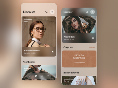 Autumn is coming 🍁🍂 ux minimal ui design app design clean blur pattern art leafs patterns brown fashion application phone mobile app