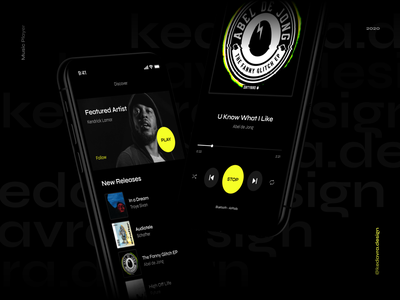 Dark Music Player app design artist round player ui ux app design application mobile minimal banner black dark green yellow neon playlist music player music app