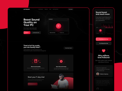 FX Sound - Landing Page redesign clean ui gradient quallity illustrations icons shadow rounded red black dark mobile www page landingpage landing equalizer boost