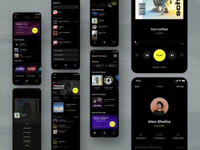 Blur - Streaming Music App iphone icons round shadow landingpage desktop ux ui clean font minimal design mobile banner black yellow player dark app music