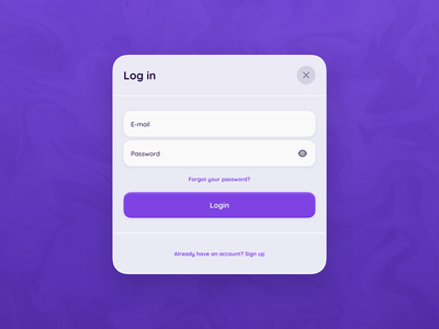 Login - Modal minimalism white colors window mobile desktop gradient minimal icons shadow blur purple rounded design sign up sign in popup modal login clean