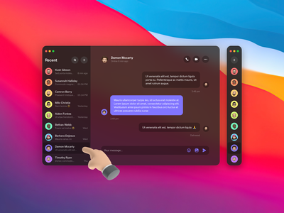 Desktop Messenger App dashboard 2021 colors shadow round gradient clean ux ui dark bg blur minimal design big sur chat message messenger desktop application