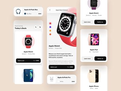 Tech E-commerce applicaiton app digital iphone desktop mobile shadow blur white black ux ui clean minimal shop design round technology ecommerce store