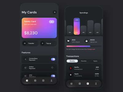 Mobile Payments 💵 purple blur wallet design application digital gradient minimal ux ui colors shadow payments bank chart card dark mobile iphone neumorphism