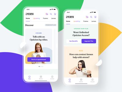Eyebou - Mobile App oval eyes eyecare digital ios banners branding logo contact lenses subscription shadow colors ux minimal app design clean glasses application mobile