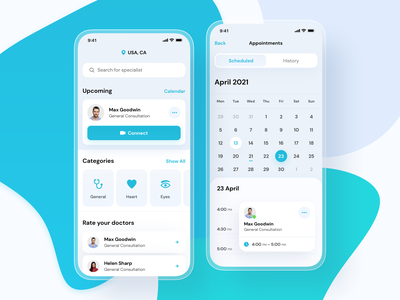 Dribbble Shot colors minimal blue white round shadow design ux ui app design call video dashboard calendar app health doctors appointment hospital clean