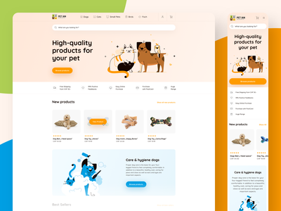 PetIan - Online Pet Shop design icons branding illustration minimal round white ux ui app clean cat dog desktop application mobile desktop pets ecommerce shop
