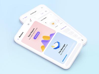 Mobile Application 🤟 white upload report task team manager files blue gradient digital ux ui minimal blur colors mobile app design rounded clean