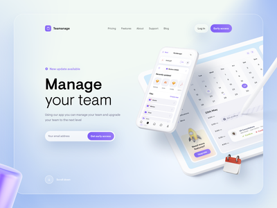Website Design report team ux ui mockup 3d clean design round app blur blue manager mobile tablet ipad calendar task upload white