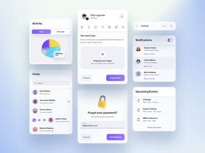 UI Elements -  Light illustration digital clean widget task manager white background app white icons 3d ui ux events notifications popup post chat chart team