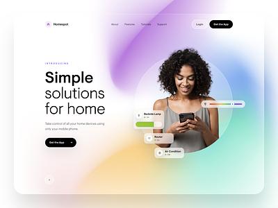 Homespot - WWW Design control manager home ux design minimal ui colors gradinet application clean white widgets app mobile bg blur website