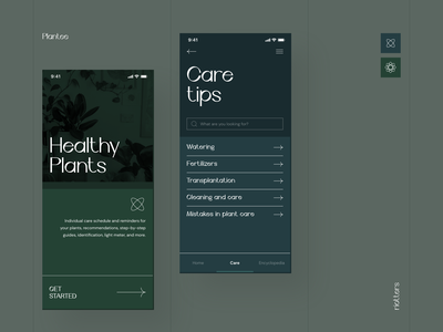 🌱 Plantee - Mobile Application sharp colors ux ui ilustration icons photo design clean minimal digital blue dark green app mobile plant