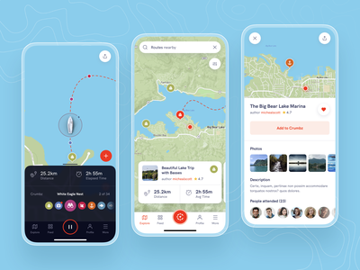 Sailing App wind boat light colors green badge icons white location map minimal ui design mobile ux application blue sailing clean app