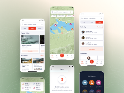 Crumbz - Mobile App share stats dashboard tags blue location green map boat trip branding logo illustration mobile ux minimal ui app design clean