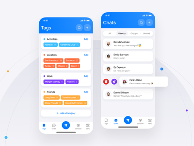 Tagchat - Mobile Application chats tags application shadow rounded colors branding logo illustration mobile ux minimal ui app design clean 3d user chat message