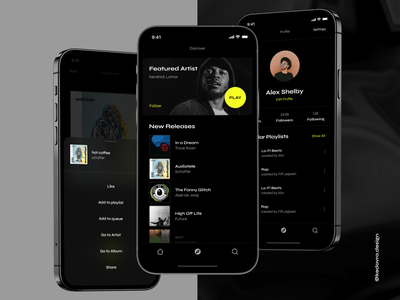 Blur - Streaming Music App illustration music player neon digital motion chart clean design minimal branding streaming icons ux ui dark mobile player app music application