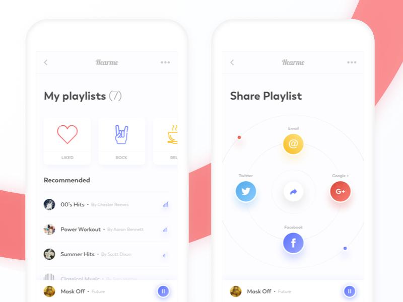 music application - next views