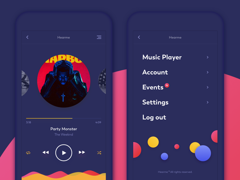 Music Player and Menu (dark theme) design dark music mobile app menu illustration digital clean graphic ui purple