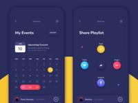 Calendar and Share screens (dark theme)