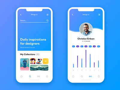 Inspirations Application app mobile blue flat x chart clean gradient icons digital iphone illustration