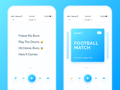 Rap App - Music Application for iPhone player illustration iphone design clear clean blue gradient mobile app music