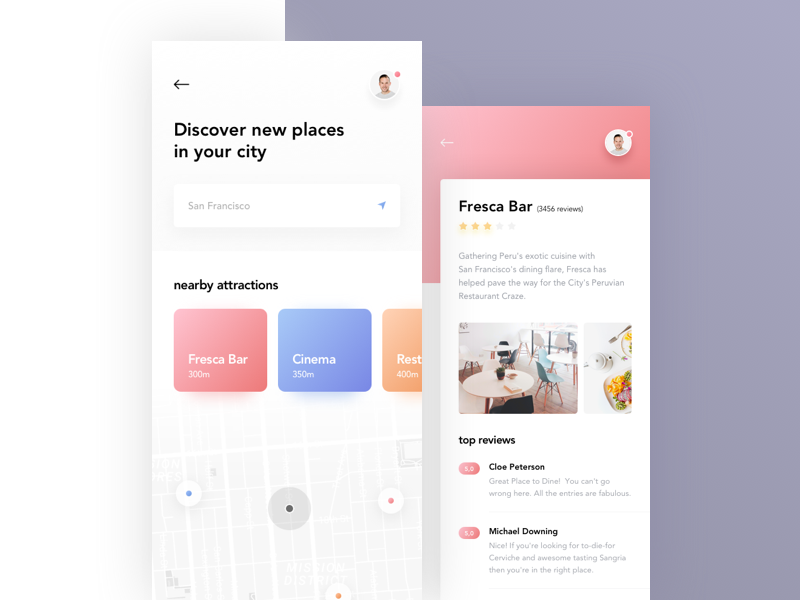 Mobile Application X illustration x gray clean minimal blue map red pink digital colors gradient