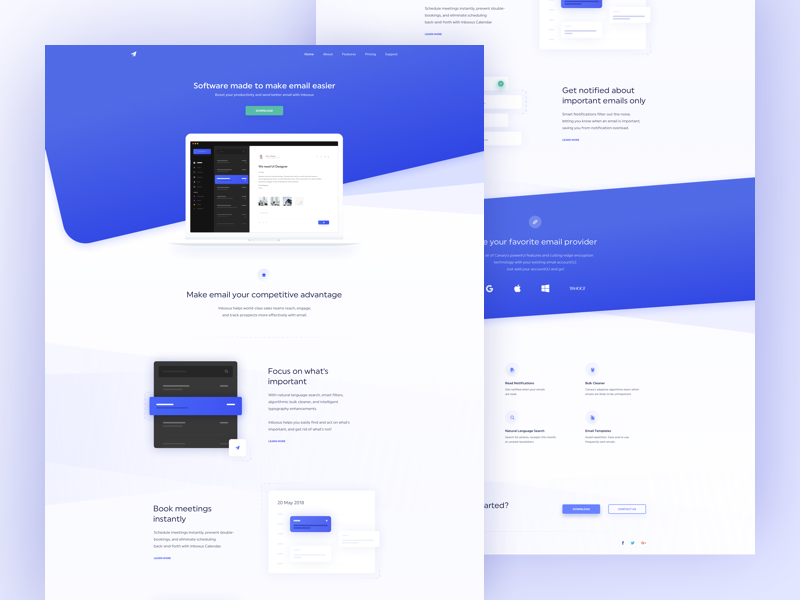 Landing Page - Inboxus app mail white ux ui blue clean icons illustration gradient page landing