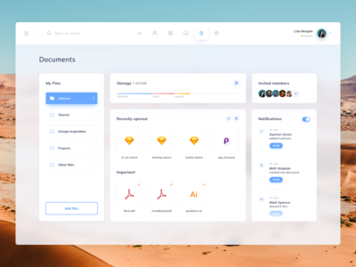 Documents Page blue colors shadow app desktop blur fluent clean gradients ux ui dashboard
